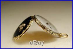 Ancienne montre gousset col L. LEROY OR 18K émaillé 1830 SOLID GOLD pocket watch