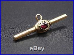 Ancienne petite clé de montre a gousset en or 18k et pierres XIXeme breloque