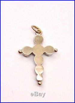 Ancienne petite croix jeannette provençale Arlesienne argent or et diamants