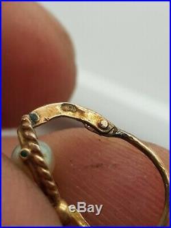 Ancienne petite paire de boucles d'oreilles or 18k et perle Dormeuse Napoléon 3