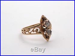 Ancienne très belle bague forme marquise or 18k et diamants taille rose T61