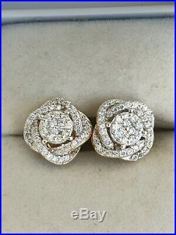 Anciennes BOUCLES D'OREILLES noeud OR 18 K /750 / DIAMANTS