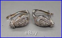 Anciennes Boucles d'oreilles Or blanc 18 carats serties de diamants 1.20 CARAT