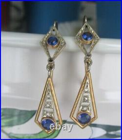 Anciennes boucles art déco deux ors 18 carats saphirs diamants