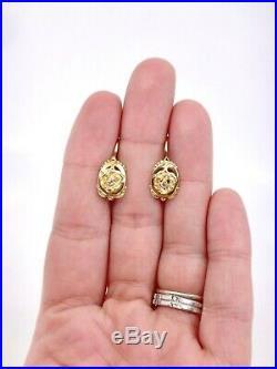 Anciennes boucles d'oreilles dormeuses en or 18k et saphirs blancs XIXeme