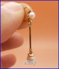 Anciennes boucles d'oreilles en or 18 carats serties de perles de culture