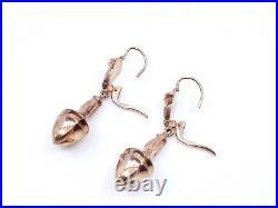 Anciennes boucles pendants d'oreilles dormeuses fileuses en plaqué or