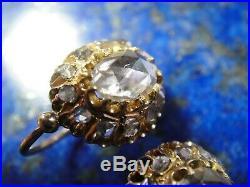 Anciennes fin XIXème Boucles oreilles Dormeuses Or 18k 750 Gros Diamants 1 Carat