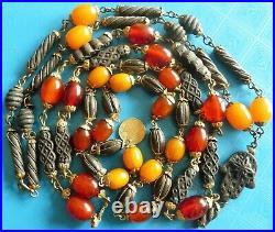 Antique Amber Bakelite Gutta Percha Beads Necklaces Lot Bijoux Colliers Anciens
