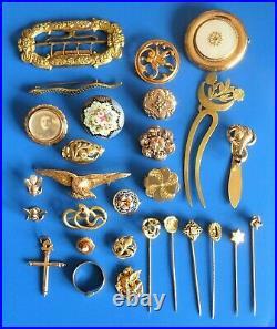 Antique Ancient XIX Gold Plated Jewelry Lot Bijoux Anciens Plaque Or Napoleoniii