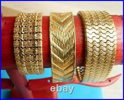 Antique Vintage French Gold Plated Jewels Lot Bijoux Anciens Bracelets Plaque Or
