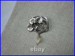 Art Nouveau Argent Sterling Perle Lilly Patin Broche c1910 Rare Ancien Bijoux