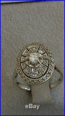 Authentique Bague Ancienne Or Blanc Platine / / Diamants