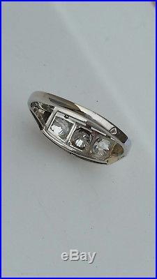 Authentique Bague Ancienne Platine / / Diamants Ta