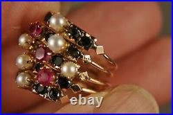 BAGUE ANCIEN OR MASSIF 14K ANTIQUE 19th c SOLID GOLD RING RUBY OBSIDIAN T53