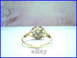 BAGUE ANCIENNE OR JAUNE 18 CTS 750/000 & PLATINE DIAMANTS 2.80 g T58 R76517