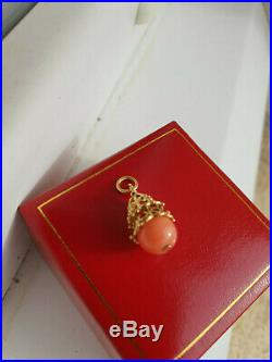 BEAU PENDENTIF ANCIEN OR 18 CARATS 750 perle de corail