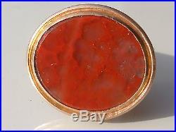 BEAU PENDENTIF / SCEAU ANCIEN milieu XIXème en Métal doré et AGATE MOUSSE 4,2 cm