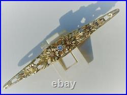 BELLE BROCHE FLORALE ANCIENNE 1900 en OR 18K 750 avec petit DIAMANT / 5,76grs