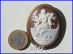 BELLE et GRANDE BROCHE ANCIENNE XIXème avec CAMEE COQUILLE ANGE PUTTI / Ht 5,2cm