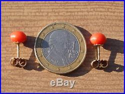 BELLES BOUCLES D'OREILLES ANCIENNES en OR 18K 750/1000° avec CORAIL 7mm