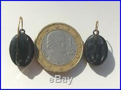 BELLES BOUCLES D'OREILLES DORMEUSES ANCIENNES XIXème avec CAMEE et OR ROSE 18K