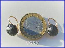 BELLES BOUCLES D'OREILLES DORMEUSES ANCIENNES en OR ROSE 18K 750 avec ONYX 1cm
