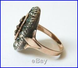Bague 19e siècle en OR + argent massif + strass Bijou ancien gold ring