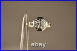 Bague Ancien Art Deco Or Massif Gris 18k Antique Solid Gold Ring T54