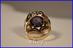 Bague Ancien Eveque Or Massif 10k Topaze Couleur Amethiste Antique Gold Ring 5gr