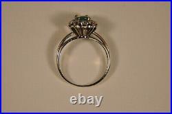 Bague Ancien Or Massif 18k Diamant Emeraude Antique Solid Gold Emerald Ring