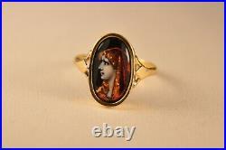 Bague Ancien Or Massif 18k Emaux Limoges Antique Solid Gold Enamel Ring T51