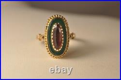 Bague Ancien Or Massif 18k Grenat Jade Antique Solid Gold Garnet Jade Ring T56
