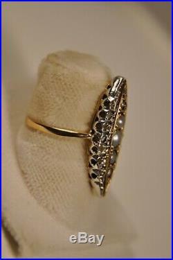 Bague Ancienne Art Nouveau Or 18k Diamants Antique Solid Gold Diamonds Ring