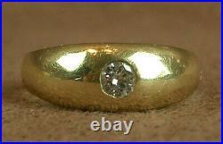 Bague Ancienne En Or 18k Sertie D'un Diamant Taille Brillant