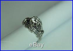 Bague Ancienne En Or Gris 18k Art Deco / Diamant De 0,75ct /poids 5,67grs/tdd 51