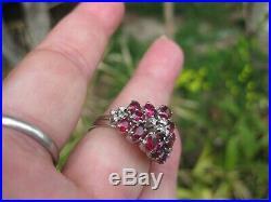 Bague Ancienne En Or Gris Sertie De Diamants Et Rubis (numerotee) Taille 53