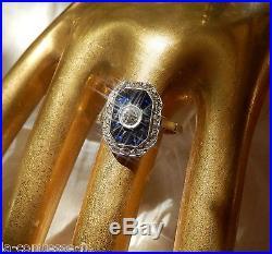 Bague Ancienne Epoque Art Deco Diamants Et Saphirs Sur Monture Or Gris