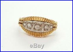 Bague Ancienne Jarretière En Or Jaune 18 Carats Sertie De Diamants! T54