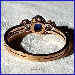 Bague Ancienne Napoleon Iii, Or 18 Carats Saphir Bleu Ceylan Et Diamants