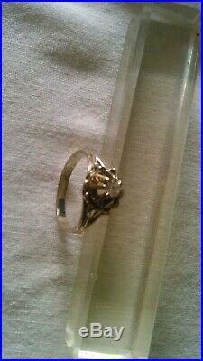 Bague Ancienne Or Blanc 18k Poincon Tete D Aigle Et Diamant Environ 020