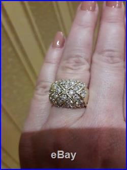 Bague Ancienne Or Carat 12.59 G. 28 Diamants De 0.08 Ct Tres Bonne Qualite