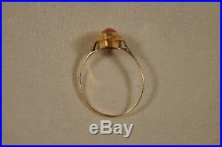 Bague Ancienne Or Massif 18k Corail Antique Solid Gold Coral Ring XIX
