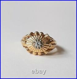 Bague Ancienne Or jaune 18K 750 DIAMANT T57 Gold Ring Diamond