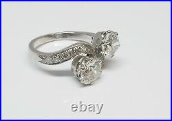 Bague Ancienne Toi Et Moi Or Gris 18k Diamants Taille Ancienne 1 Carat X 2