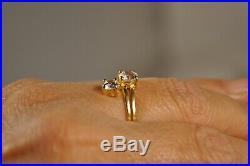 Bague Ancienne Toi Et Moi Or Massif 18k Antique Solid Gold Ring 3,5gr