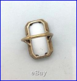 Bague Art Deco Ancienne Email Diamants Or Jaune 18k