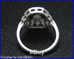 Bague Art Deco Platine Ancienne Vers 1930 0.65 Carats Hvs2 Diamants