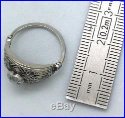 Bague Art Deco Platine Et Or Blanc 18k Ancienne 0.70 Carats Diamants