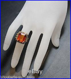 Bague Citrine 4.50 Cts Ancienne Or Jaune 18k Taille 50